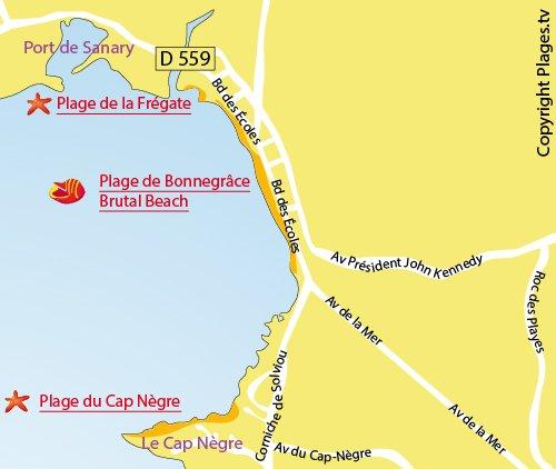Mappa della Spiaggia della Frégate a Six Fours les Plages