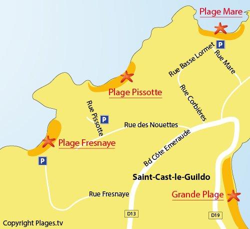 Map of La Fresnaye Beach in Saint Cast le Guildo