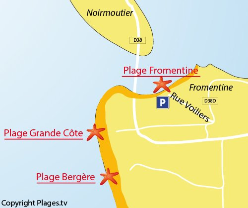 Carte de la plage de la Fromentine à la Barre de Monts