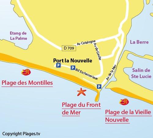 Mappa della Spiaggia del Front de Mer a Port la Nouvelle