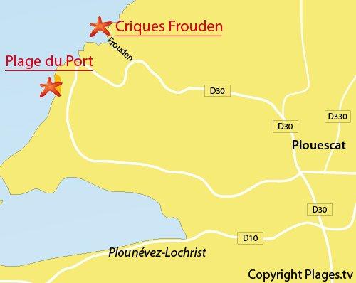 Carte de la plage du Frouden à Plouescat
