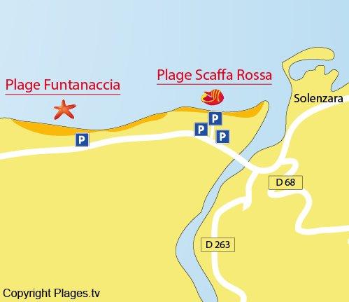 Carte de la plage de Funtanaccia en Corse (Solaro)