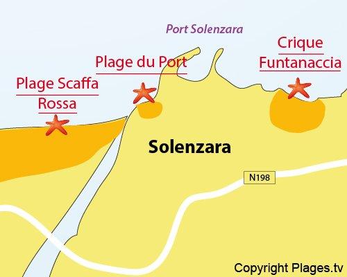 Plan des criques de Funtanaccia à Solenzara