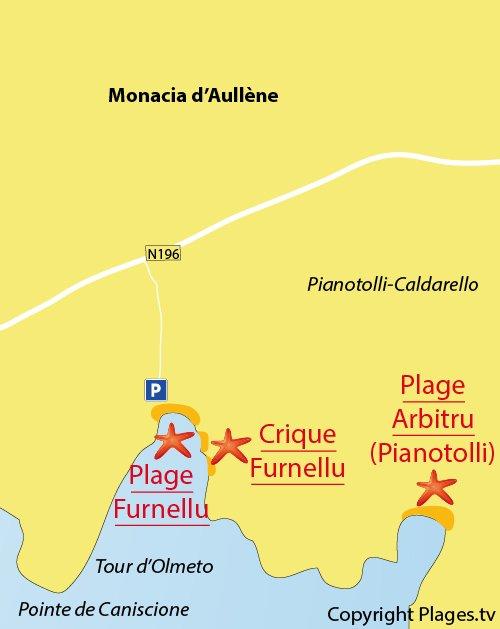 Carte de la plage de Caniscione en Corse