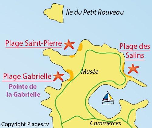 Plan de la plage Gabrielle sur les iles des Embiez