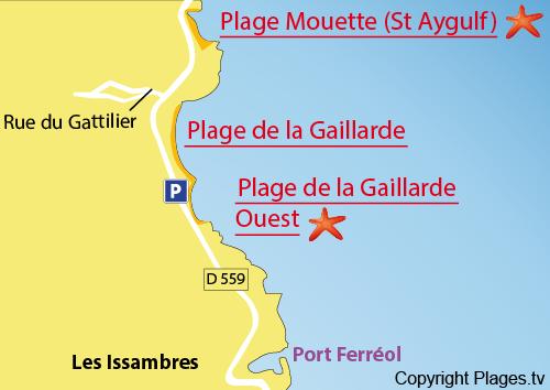 Map of La Gaillarde beach - Les Issambres - France