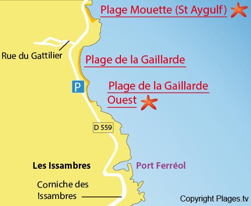 Plan de la plage de la Gaillarde Ouest Les Issambres Var