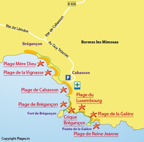 Map of the Galere beach in Bormes les Mimosas