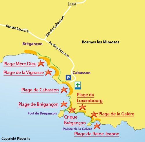Plan de la plage de la Galère à Bormes les Mimosas