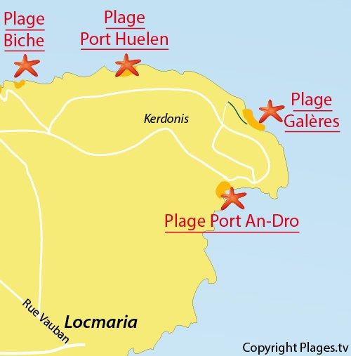 Carte de la plage des Galères à Belle Ile en Mer