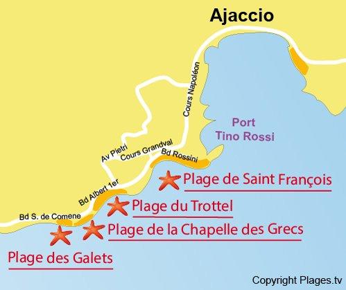 Mappa spiaggia di Galets - Ajaccio