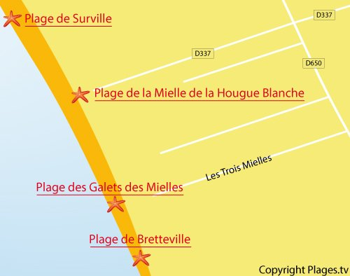 Carte de la plage des Galets des Mielles - Glatigny