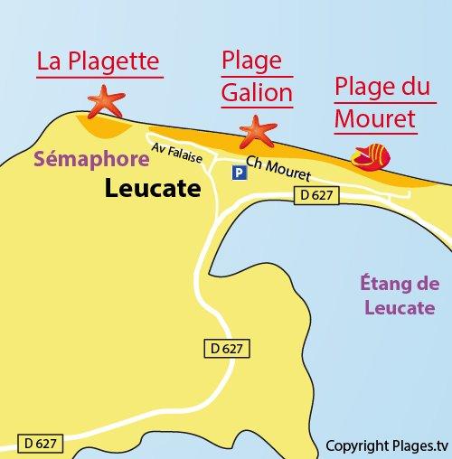 Carte de la plage du Galion à Leucate - 11
