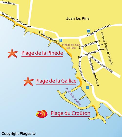Carte de la plage de la Gallice à Juan les Pins