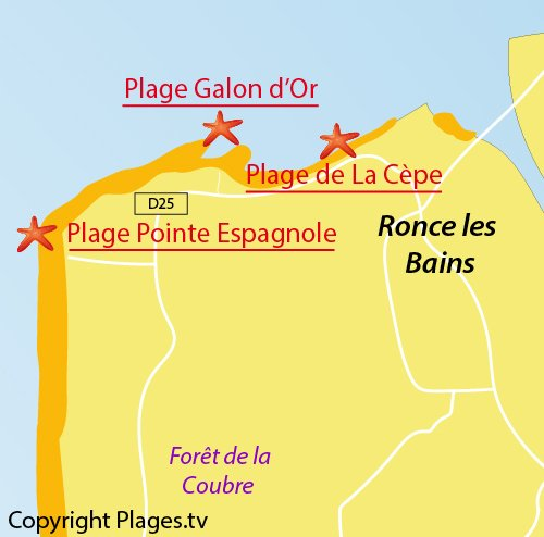 Carte de la plage du Galon d'Or à La Tremblade