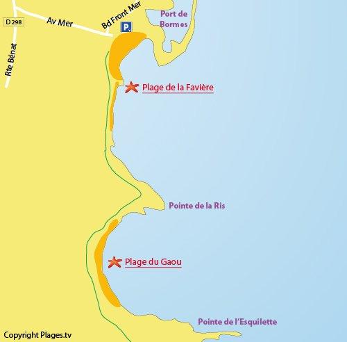 Mappa della Spiaggia del  Gaou a Bormes les Mimosas