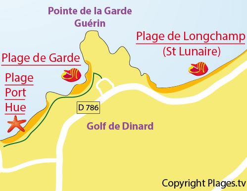 Plan de la plage de la Garde à St Briac sur Mer