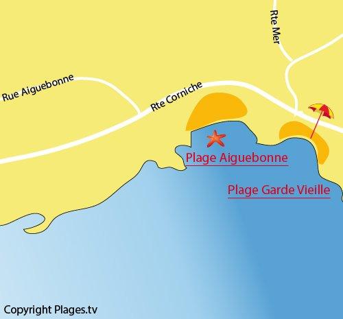 Mappa della Spiaggia Garde Vieille a St Raphaël