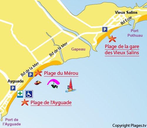 Plan de la plage de la gare des Vieux Salins à Hyères