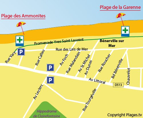 Map of Garenne Beach in Bénerville sur Mer (Calvados)