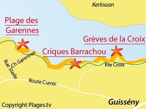 Carte de la plage des Garennes à Guissény