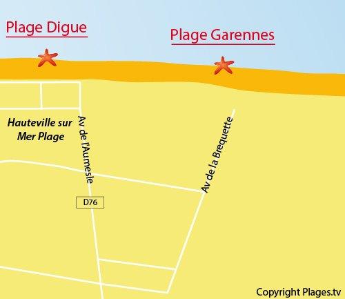 Carte de la plage des Garennes à Hauteville sur Mer