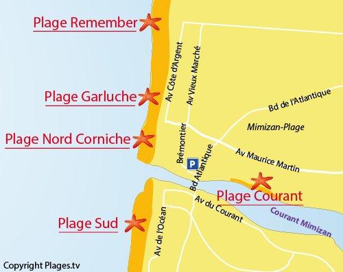 Map of La Garluche beach in Mimizan