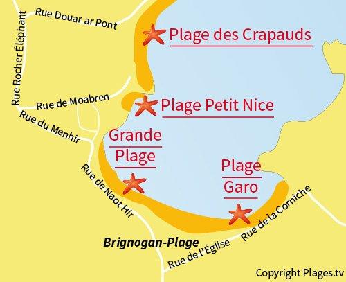 Carte de la plage du Garo à Brignogan