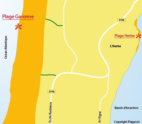 Plan de la plage de la Garonne au Cap Ferret
