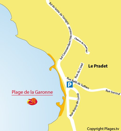 Map of Garonne Beach in Pradet