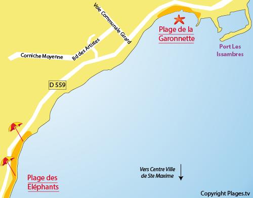 Map of Garonnette Beach in Sainte Maxime