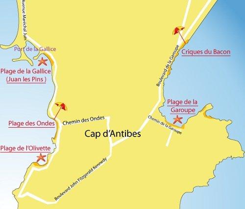 Carte de la plage de la Garoupe au Cap d'Antibes
