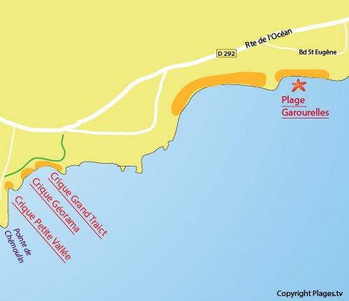 Map of Garourelles Beach in St Nazaire