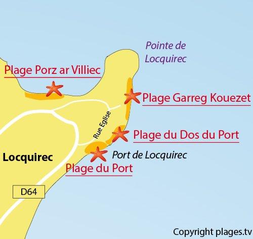Carte de la plage de Garreg Kouezet à Locquirec