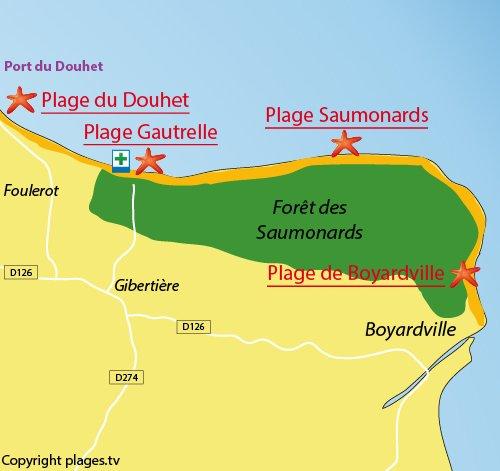 Plan de la plage de Gautrelle sur l'ile d'Oléron