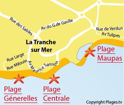 Carte de la plage de la Génerelles à La Tranche