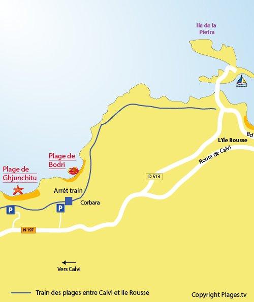 Plan de la plage de Ghjunchitu à Corbara (Ile Rousse)