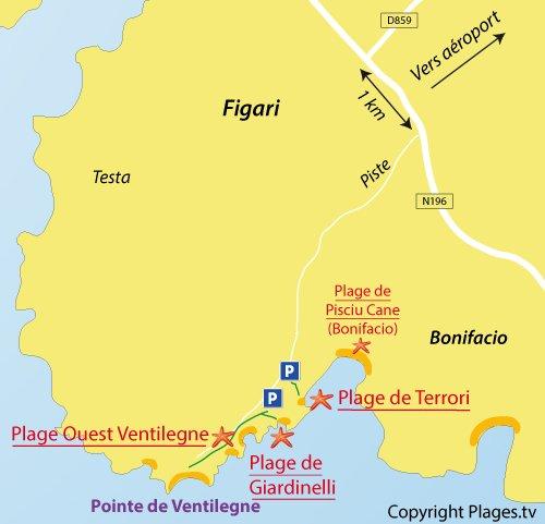 Carte de la plage de Giardinelli à Figari