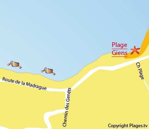 Map of Giens Beach in Hyeres