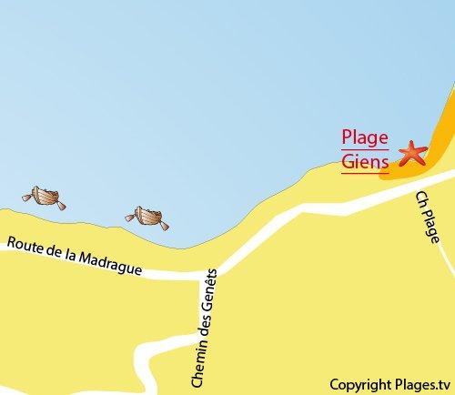 Carte de plage de Giens