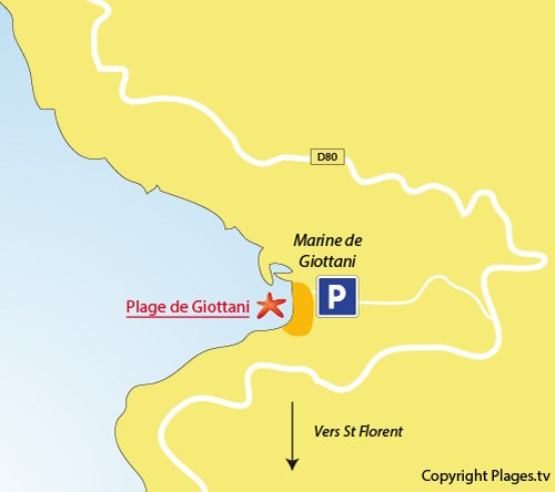 Map of Giottani Beach in Corsica