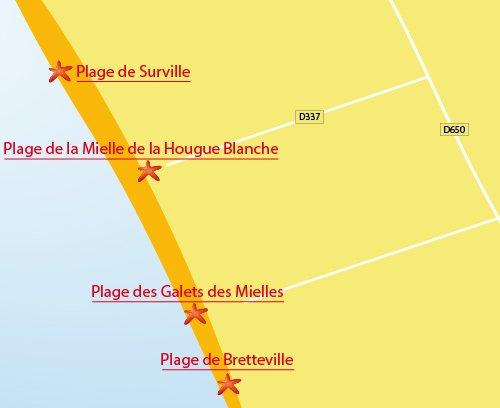 Carte de la plage de Glatigny - Mielle de la Hougue Blanche