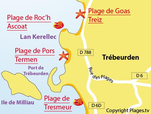 Carte de la plage de Goas Treiz de Trébeurden