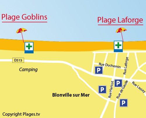 Map of Goblins Beach in Blonville sur Mer