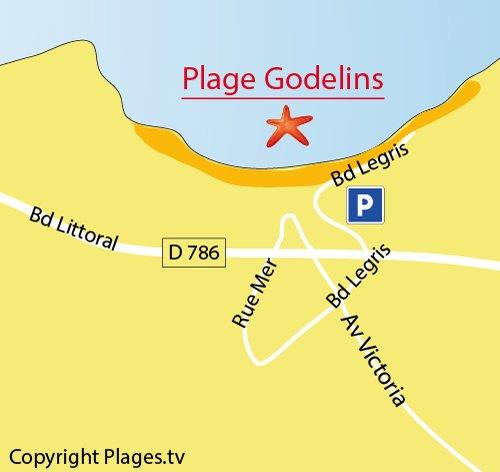 Plan de la plage des Godelins à Etables sur Mer