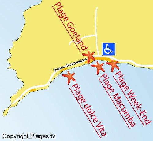 Carte de la plage du Goeland à Ajaccio