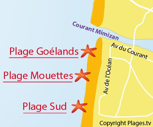 Map of Goelands Beach in Mimizan