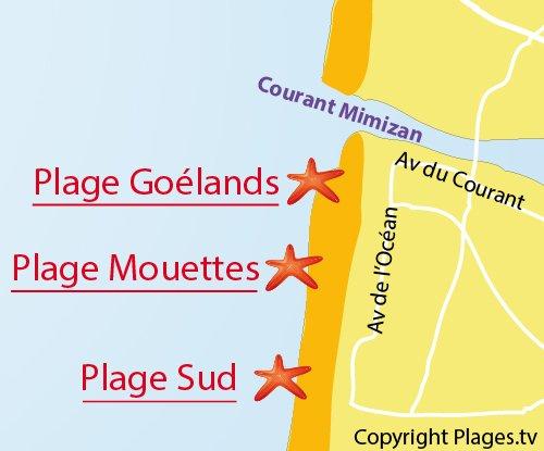 Carte de la plage des Goélands et des Mouettes à Mimizan