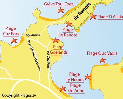 Carte de la plage des Goelands à Trégastel
