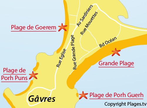 Map of Goerem Beach in Gavres